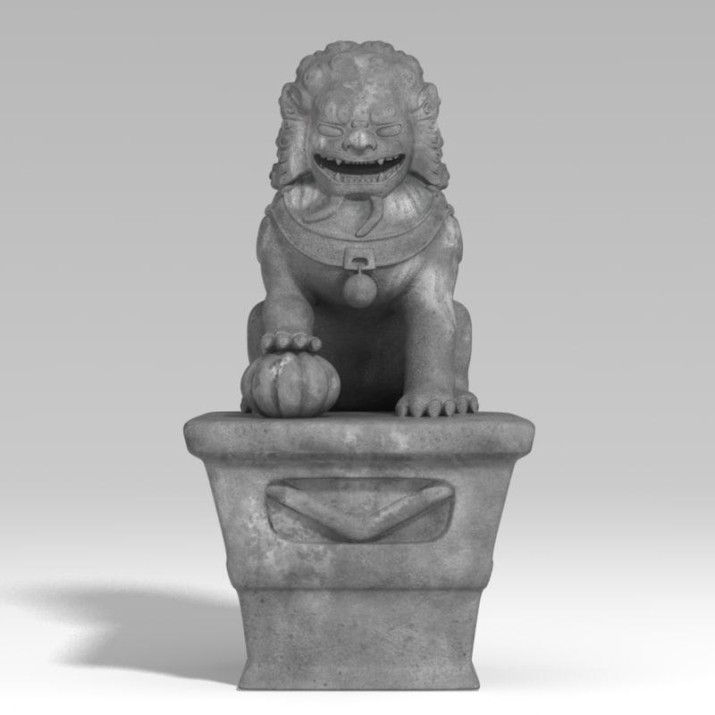 3d lio lion stone