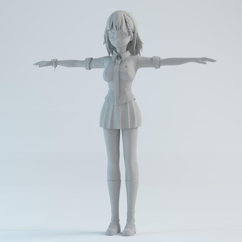 japan girl 3d obj