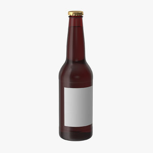 3d model brown beer bottle