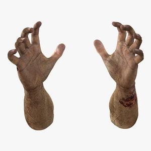 zombie hands pose 5 3d model