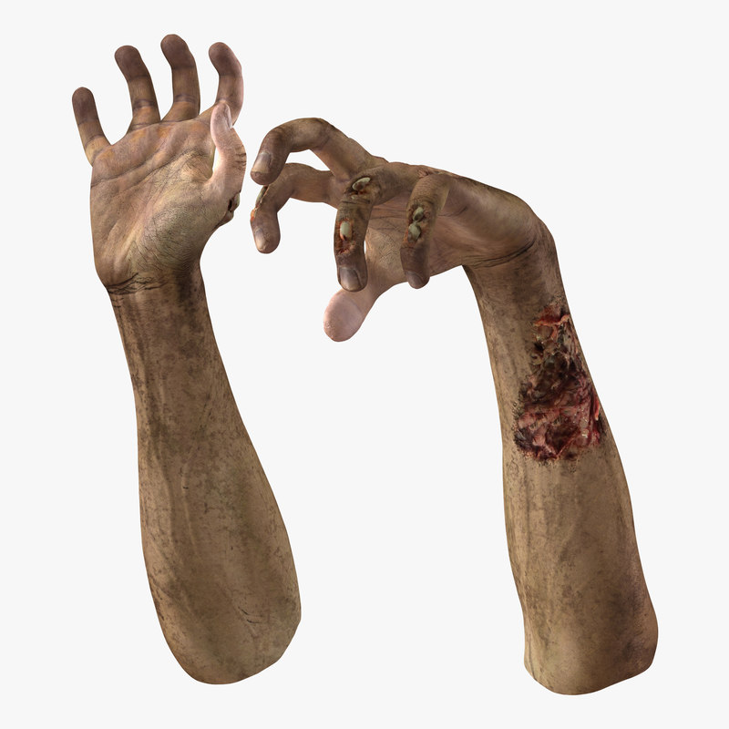 zombie hands rigged 3d model
