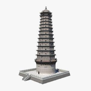 obj chinese famen temple