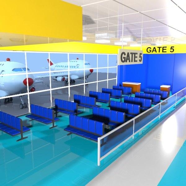 3d model cartoon airport waiting