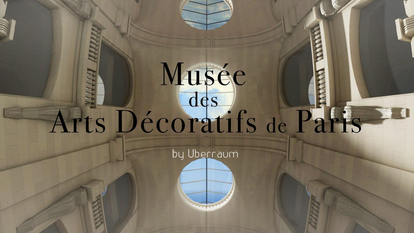 hall paris museum arts 3d model