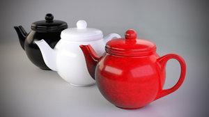 colorful teapot set 3d obj