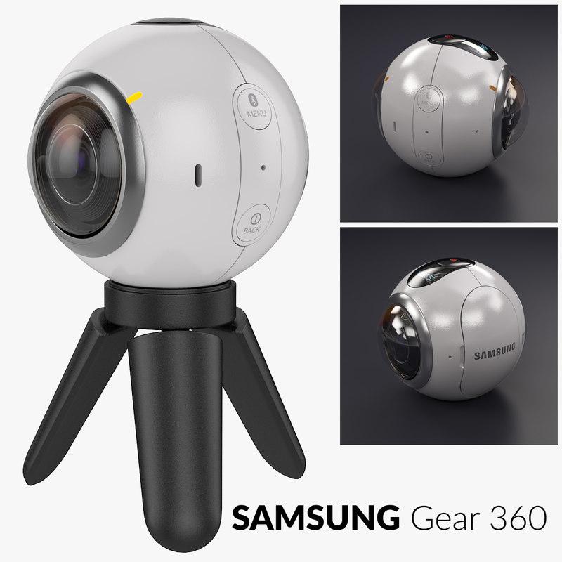 samsung gear 360 camera tripod 3d model