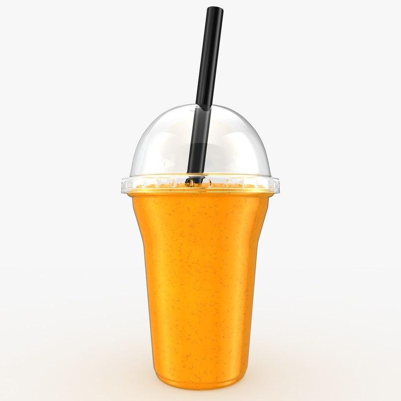 realistic fruit shake orange 3d 3ds