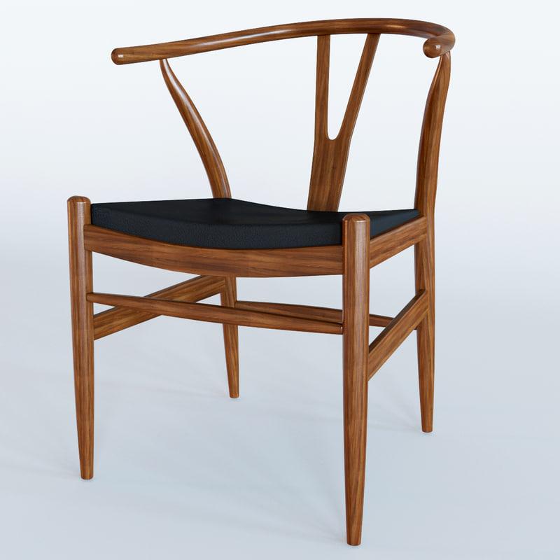 3d wishbone leather chair