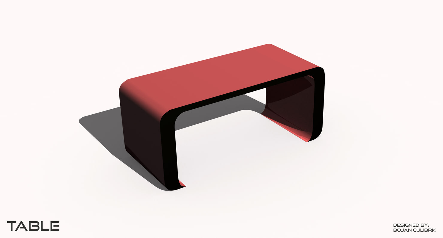 3d curved table