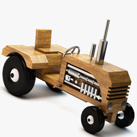 3d model of wooden toy tractor wood