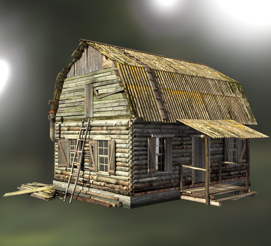 old wooden house 3d max