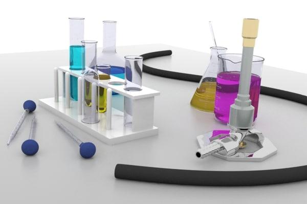 3d model chemistry lab equipment