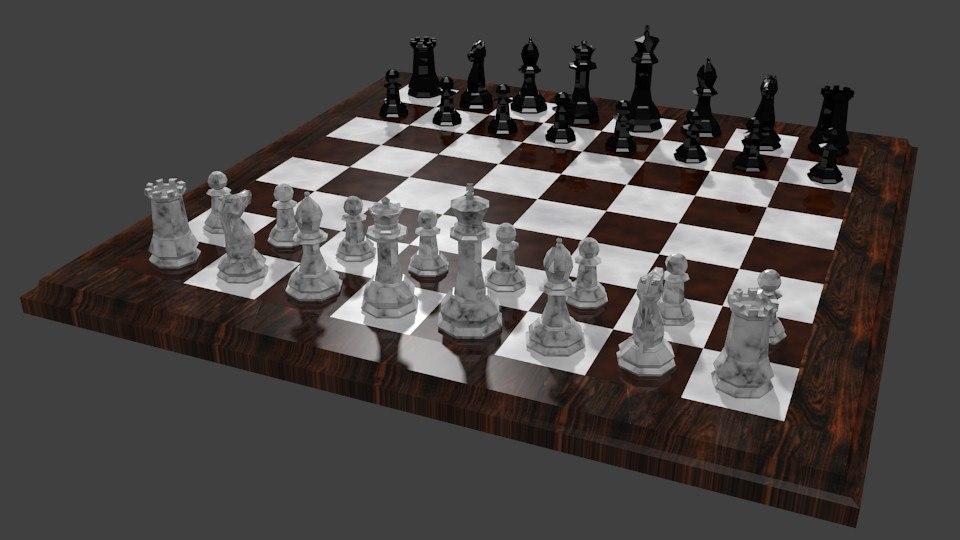 chess set 3d blend