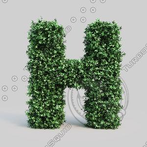 alphabet h buxus 3d max