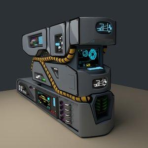 3d science fiction console