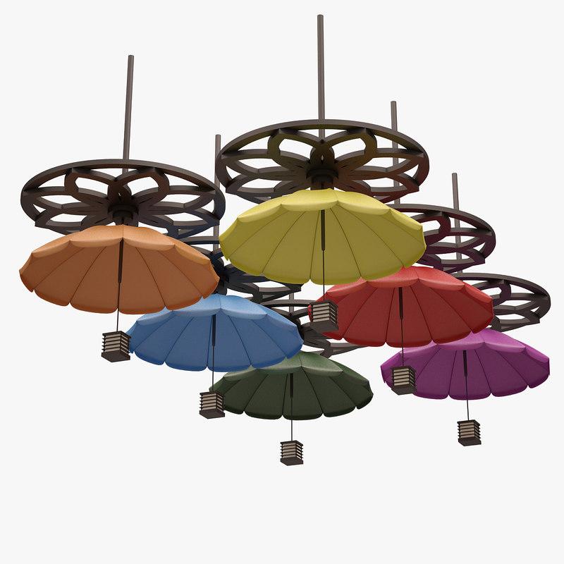 3d colorful umbrella lamp model