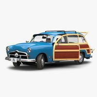 generic retro car rigged 3d model