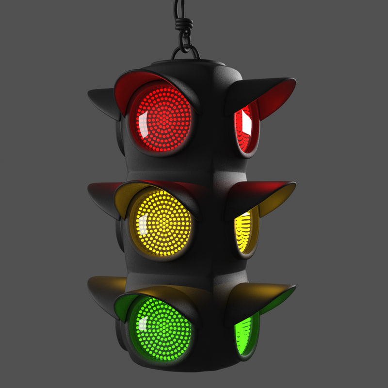 obj rigged traffic light