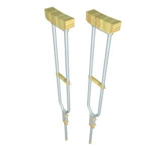 3d model of crutches