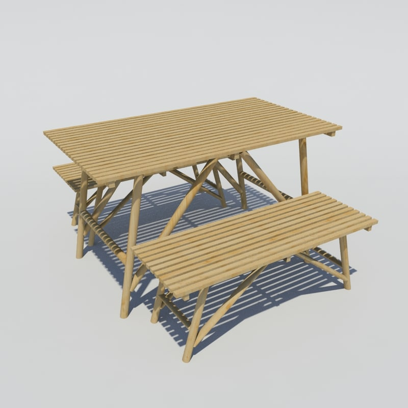 bamboo table benches 3d model