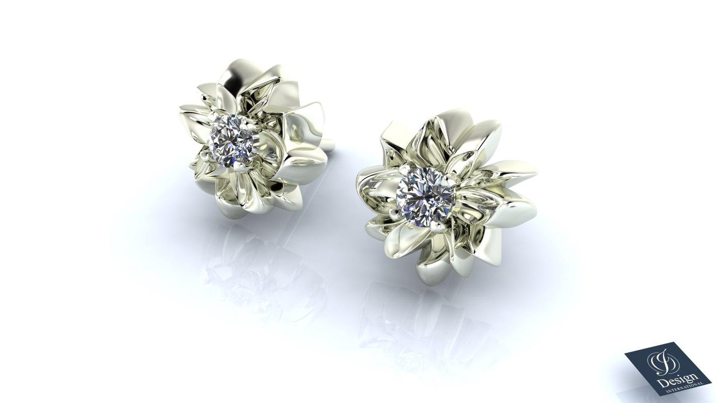 earrings diamond 3d 3ds