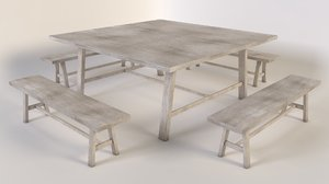 table benches 3d c4d