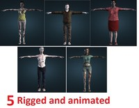 5 Zombies - Collection: Rigged and animated
