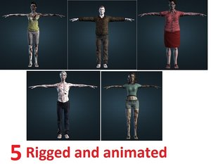 obj 5 zombies animations