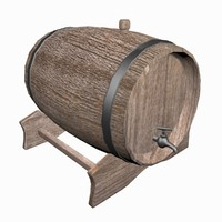 3d wooden beer barrel