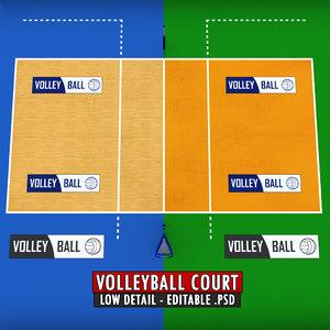 volleyball court obj