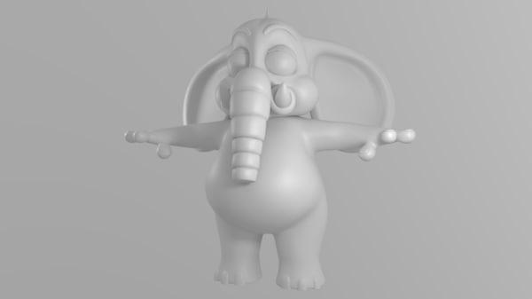 cartoon elephant 3d obj
