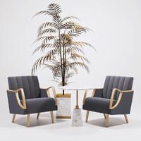 horta fauteuil armchairs golden 3d max