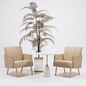 3d jasper armchairs golden palm model