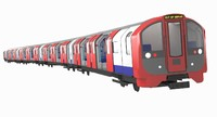 3d model of london metro train exterior scene
