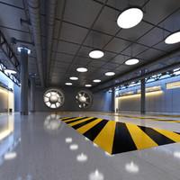 sci-fi hallway 3d obj