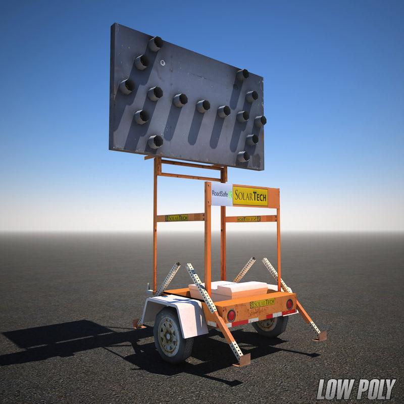 lane change construction sign 3d max