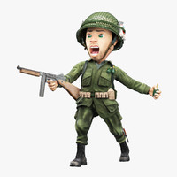 Cartoon Soldier Second World War Rigged