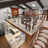 3d model apartment mansard