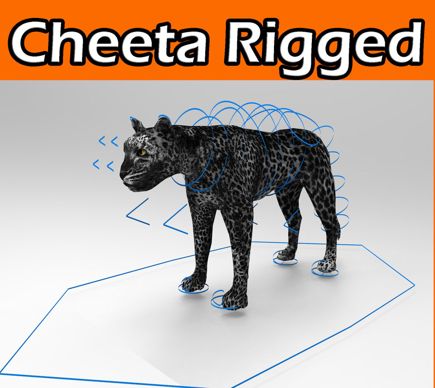 3d model panther rigged