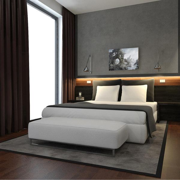 scene modern hotel room 3d model
