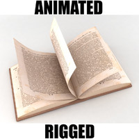 rigged old book 3d model