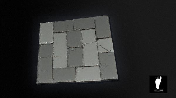 2 tileable stones tiles 3d model