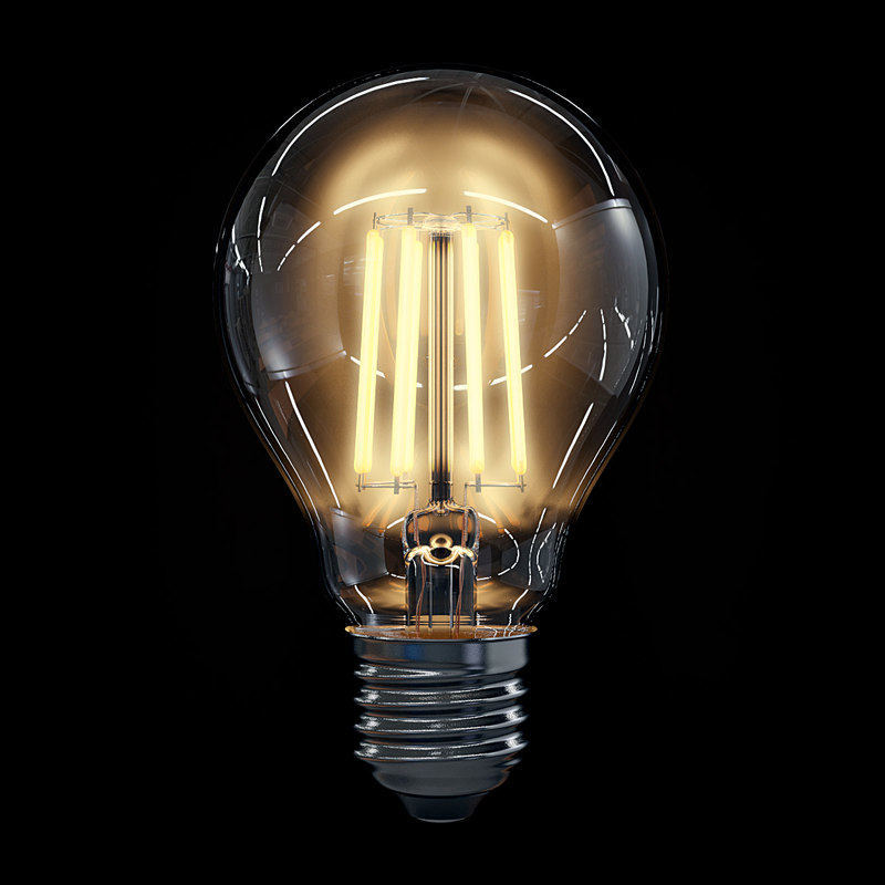 3d led filament bulb lights model