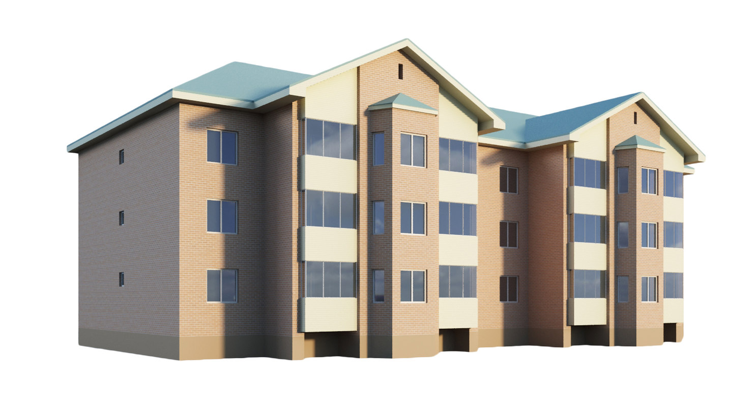 3-storey building residential 3d model