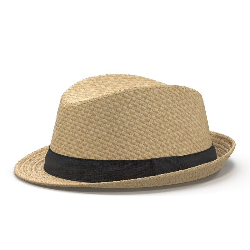 mens straw hat 3d 3ds