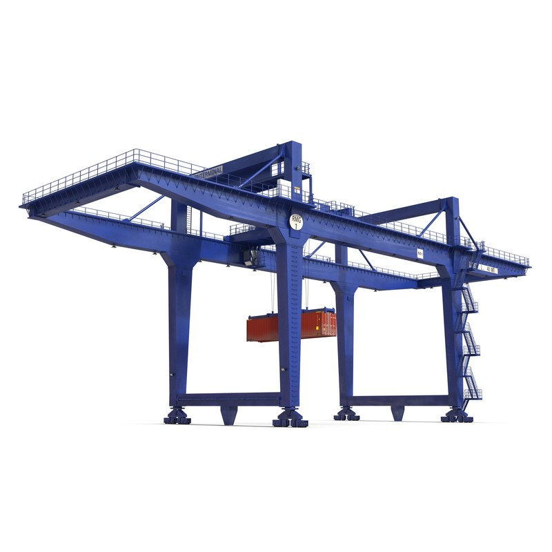 3d model of rail mounted gantry container crane