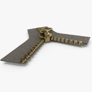 3d metal zipper brass