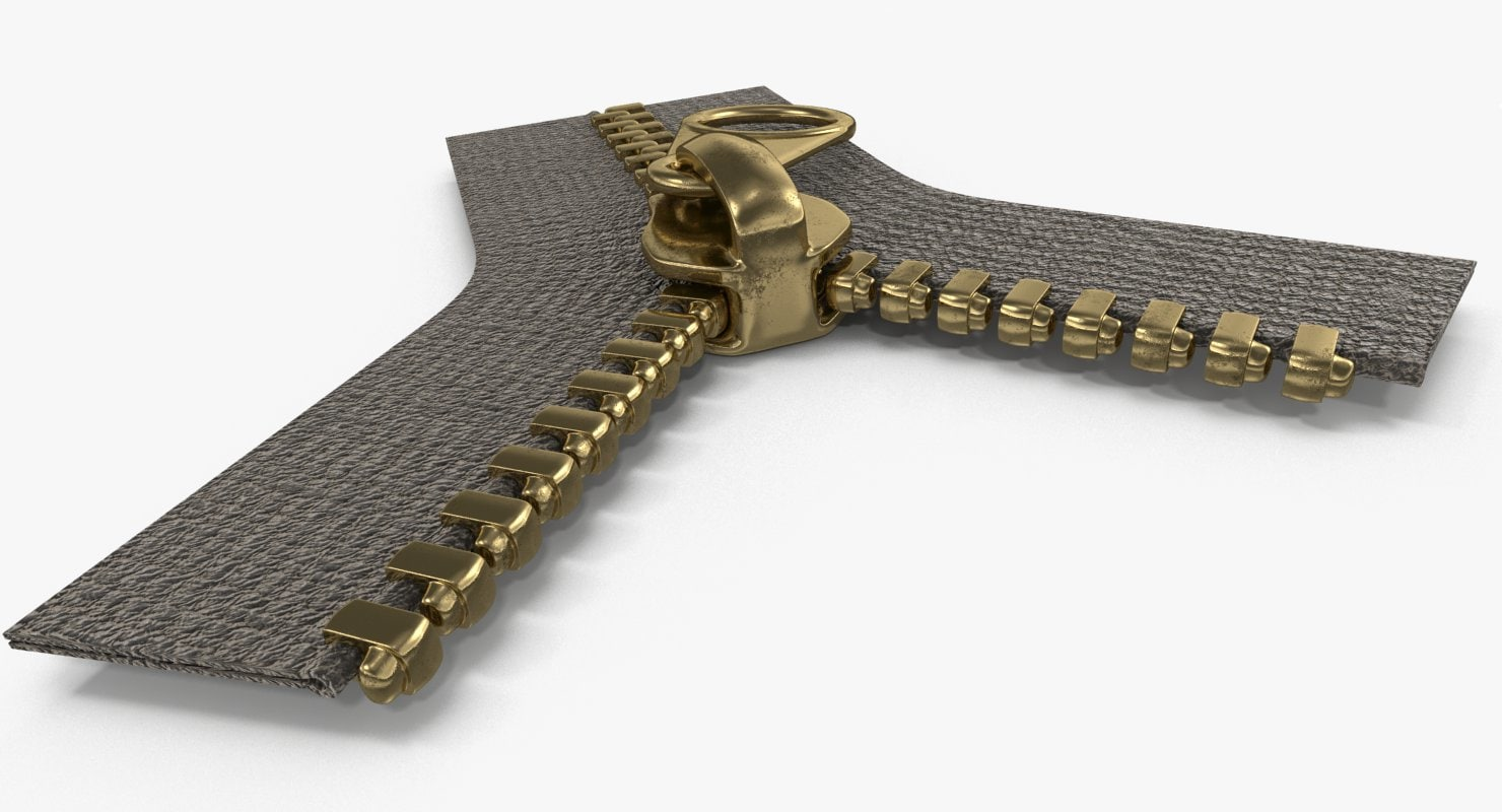 3d metal zipper brass
