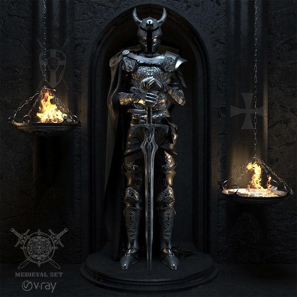 set armor medieval 3d model