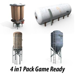3d water tower tank model
